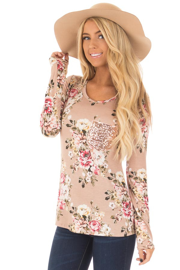 Dusty Pink Floral Top with Rose Gold Sequin Pocket front close up