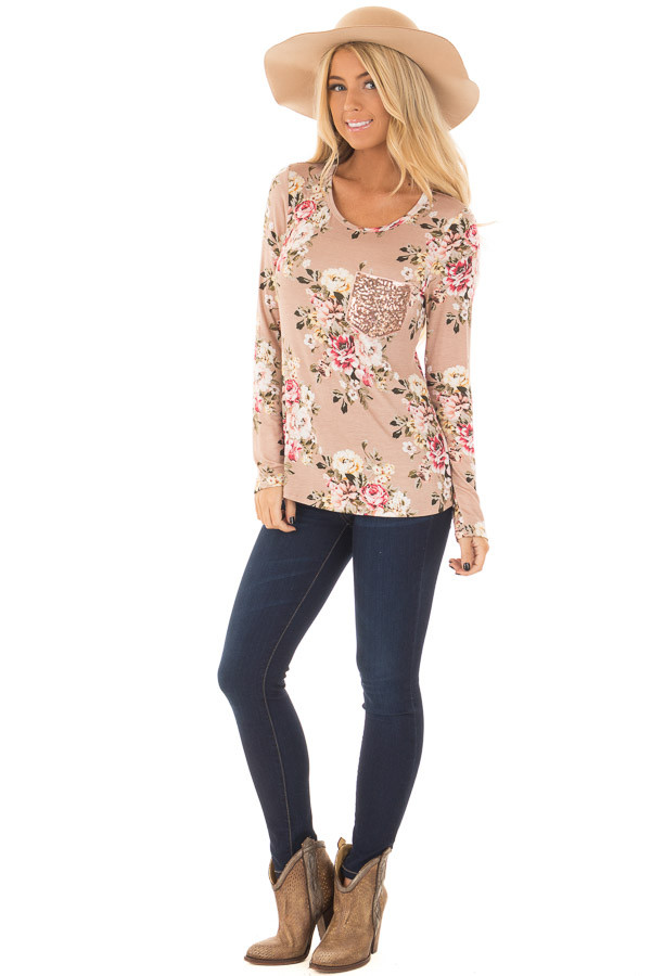 Dusty Pink Floral Top with Rose Gold Sequin Pocket front full body