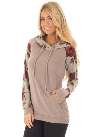 Mocha Hoodie with Burgundy Floral Contrast front close up