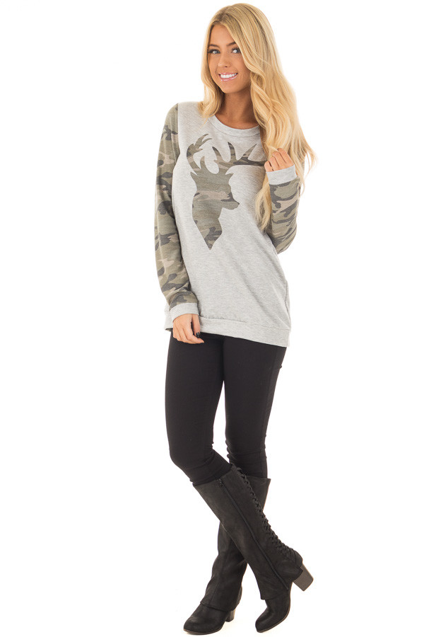 Heather Grey and Camo Long Sleeve Deer Print Top front full body