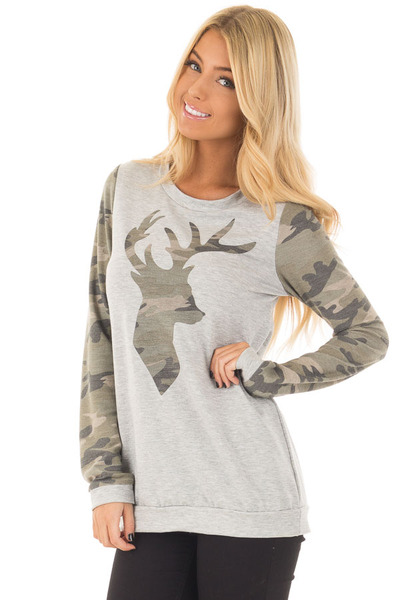 Heather Grey and Camo Long Sleeve Deer Print Top front close up