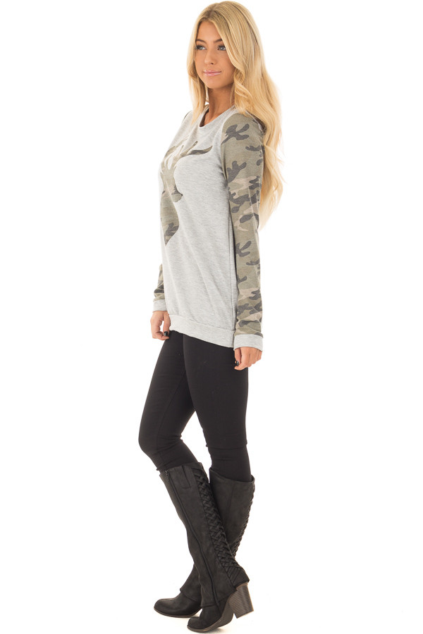 Heather Grey and Camo Long Sleeve Deer Print Top side full body