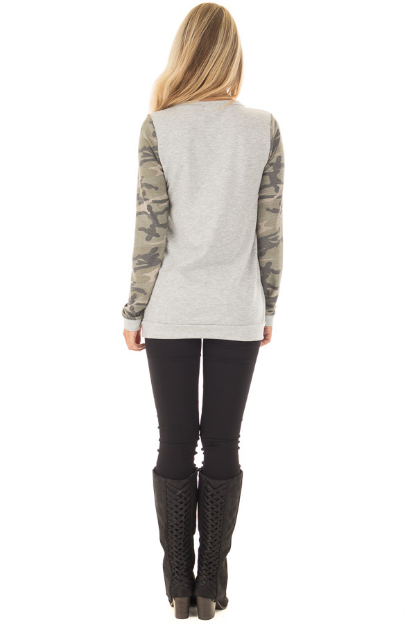 Heather Grey and Camo Long Sleeve Deer Print Top back full body