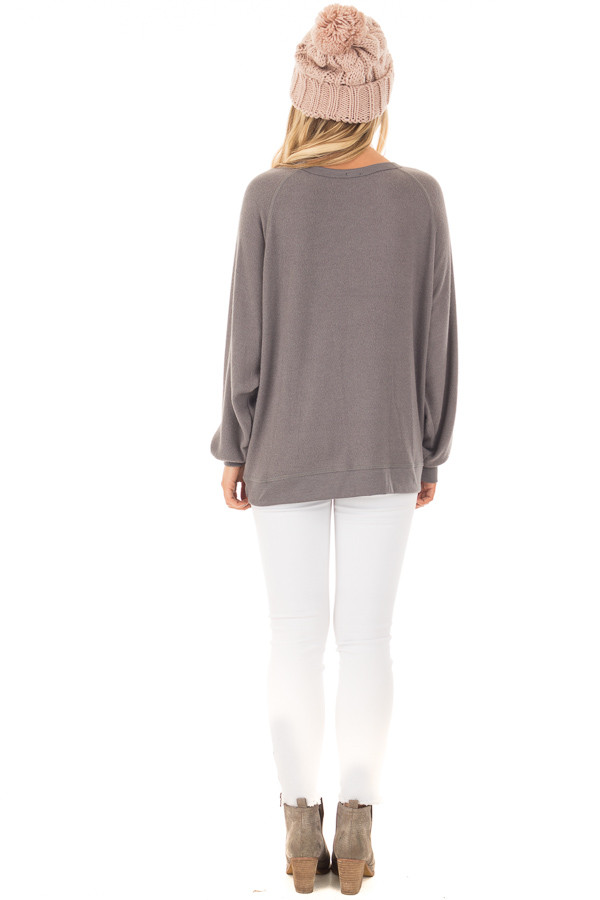 Charcoal Soft 'Sunday Funday' Long Sleeve Sweater back full body