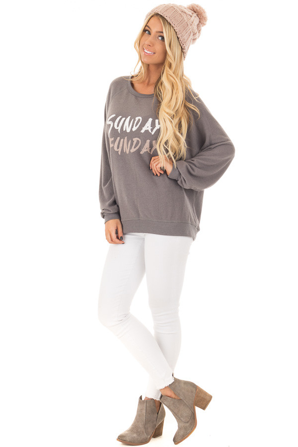 Charcoal Soft 'Sunday Funday' Long Sleeve Sweater front full body