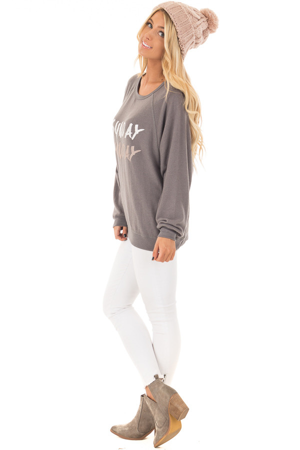 Charcoal Soft 'Sunday Funday' Long Sleeve Sweater side full body