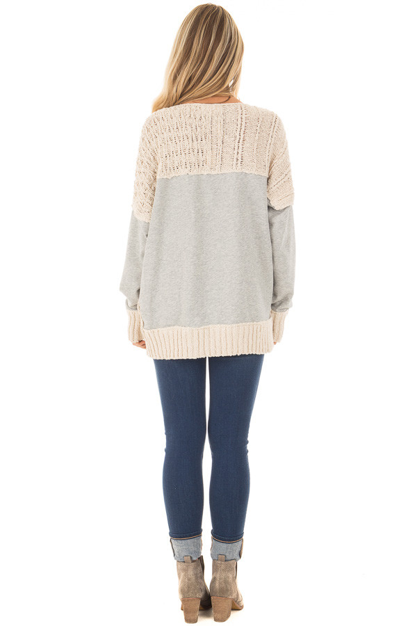Beige Knit Sweater with Heather Grey Back and Sleeves back full body