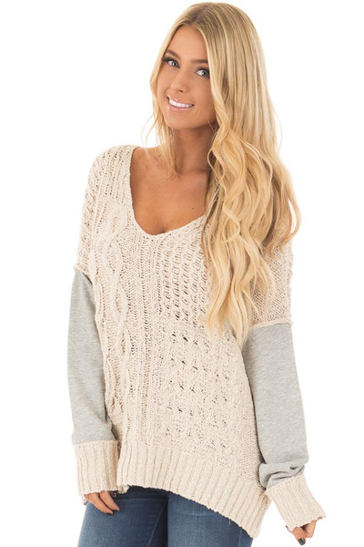 Beige Knit Sweater with Heather Grey Back and Sleeves front close up