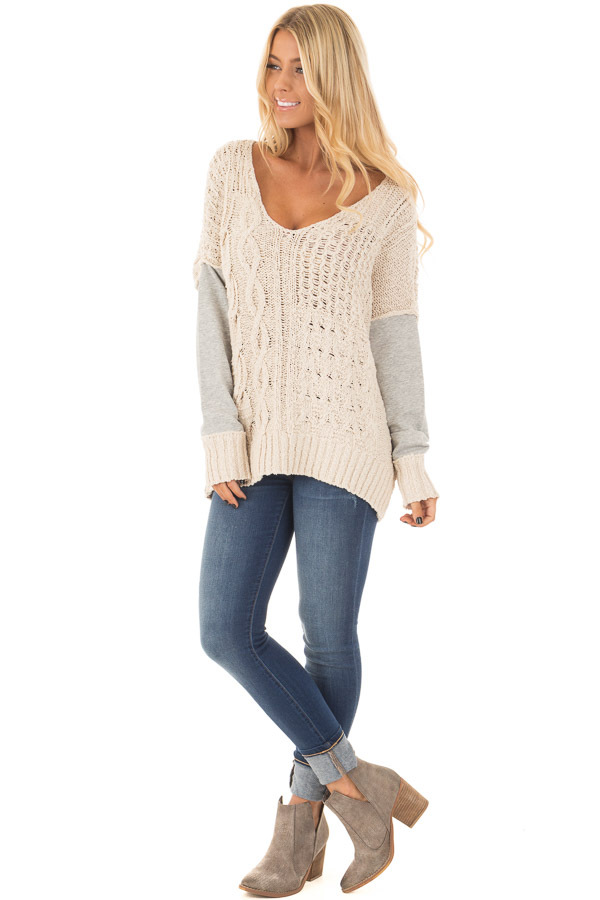 Beige Knit Sweater with Heather Grey Back and Sleeves front full body
