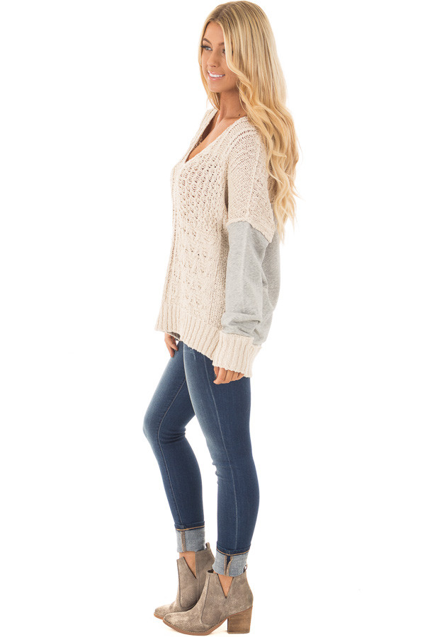 Beige Knit Sweater with Heather Grey Back and Sleeves side full body