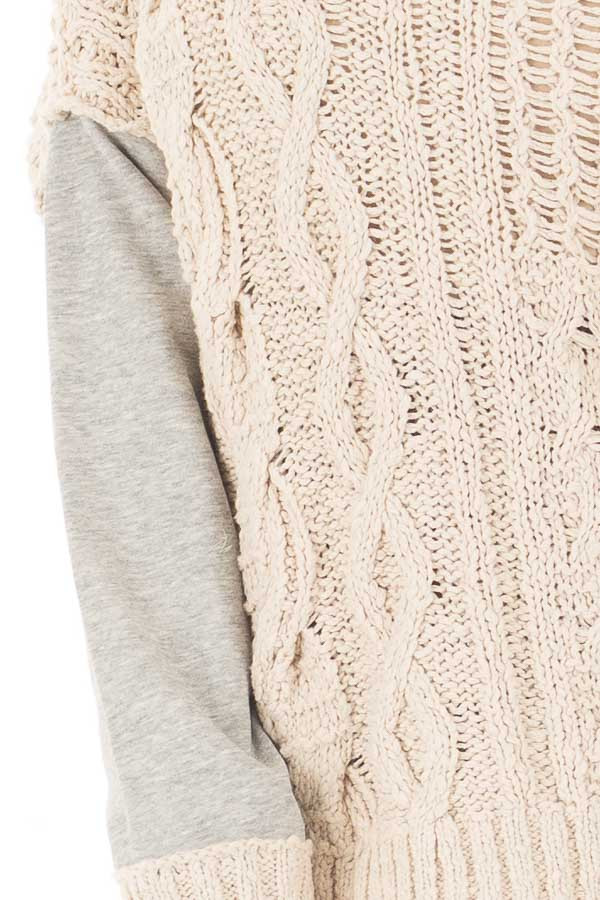 Beige Knit Sweater with Heather Grey Back and Sleeves detail