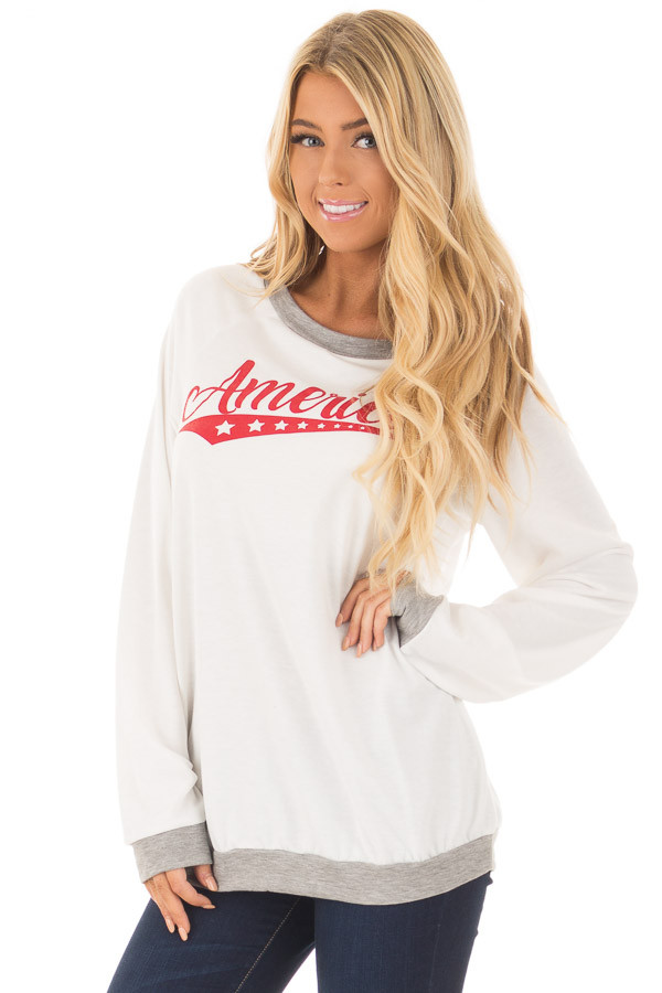 Ivory 'America' Long Sleeve Top front close up