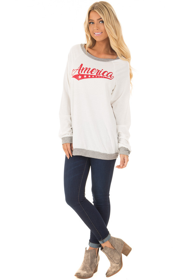 Ivory 'America' Long Sleeve Top front full body