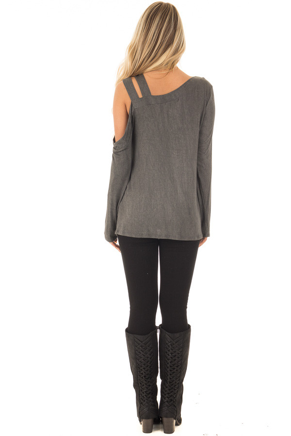 Charcoal Asymmetric Top with One Shouldered Double Strap back full body