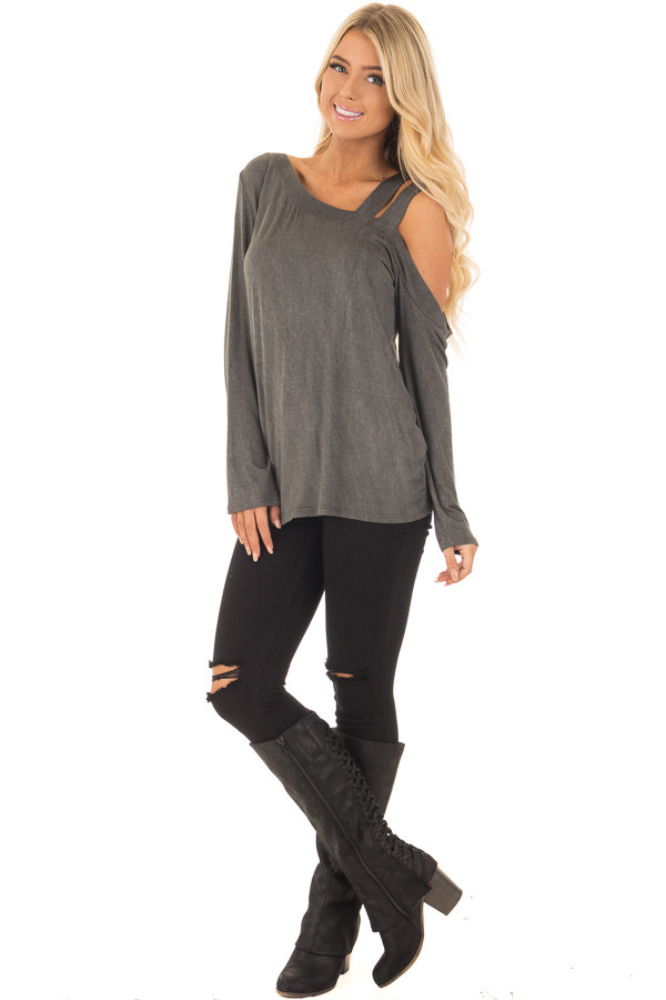 Charcoal Asymmetric Top with One Shouldered Double Strap front full body