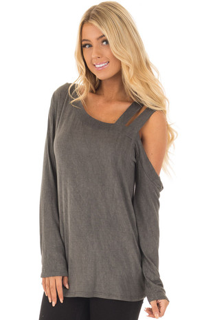 Charcoal Asymmetric Top with One Shouldered Double Strap front close up