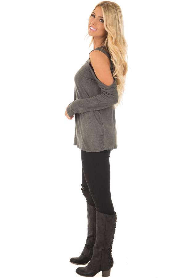 Charcoal Asymmetric Top with One Shouldered Double Strap side full body