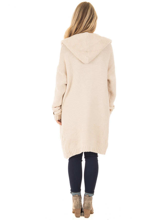 Beige Knit Hooded Cardigan with Pockets and Sleeve Detail back full body