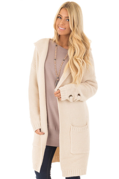 Beige Knit Hooded Cardigan with Pockets and Sleeve Detail front close up