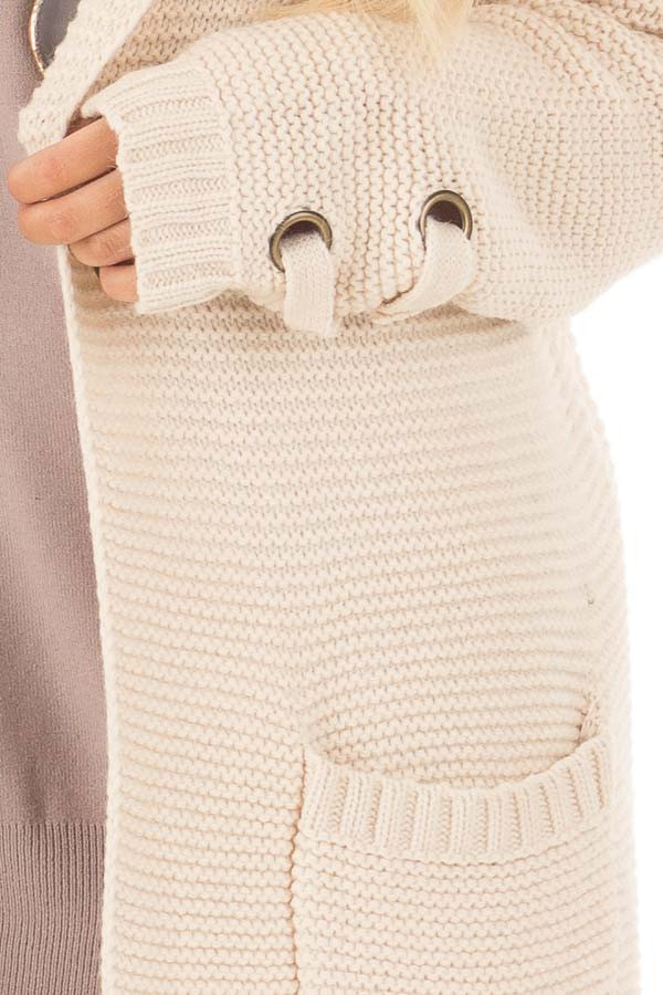 Beige Knit Hooded Cardigan with Pockets and Sleeve Detail detail