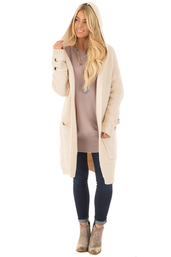 Beige Knit Hooded Cardigan with Pockets and Sleeve Detail front full body