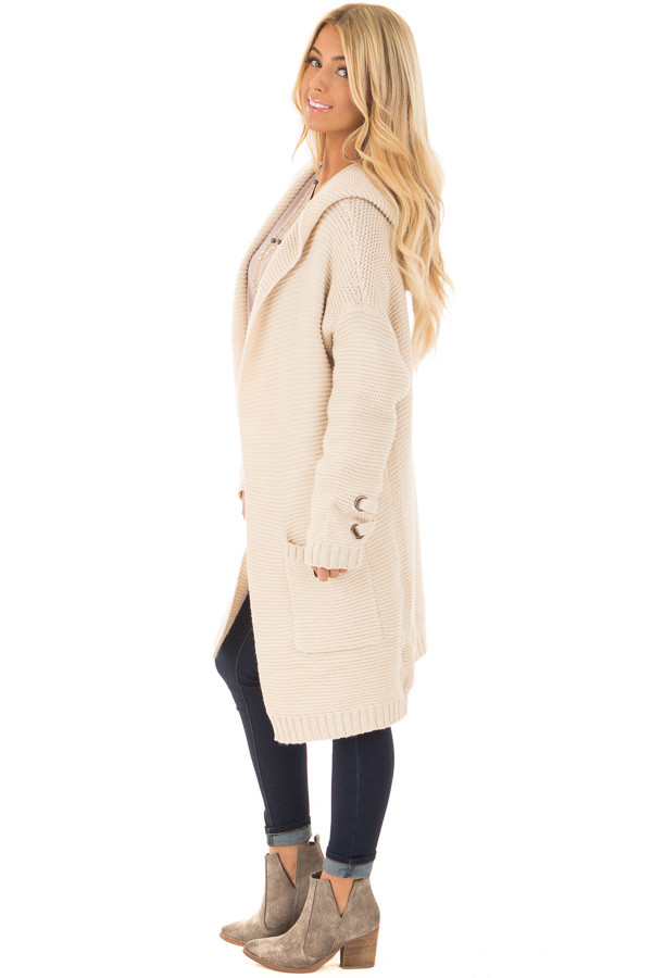 Beige Knit Hooded Cardigan with Pockets and Sleeve Detail side full body