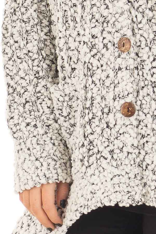 Black and Ivory Soft Two Tone Button Up Cardigan Sweater detail