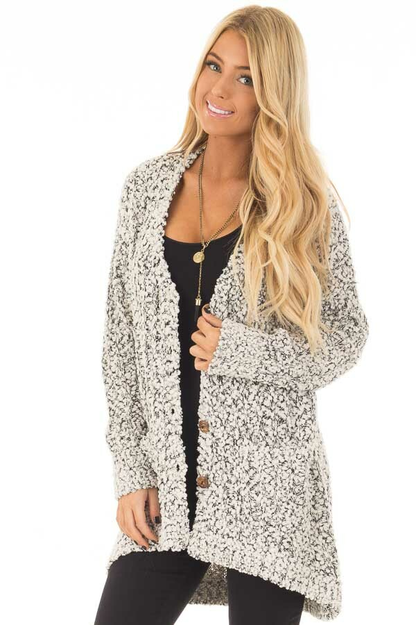 Black and Ivory Soft Two Tone Button Up Cardigan Sweater front close up