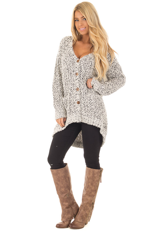 Black and Ivory Soft Two Tone Button Up Cardigan Sweater front full body
