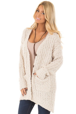 Ivory Soft Button Up High Low Cardigan Sweater front close up