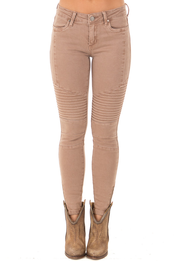 Cocoa Moto Jeans with Zipper Detail front view