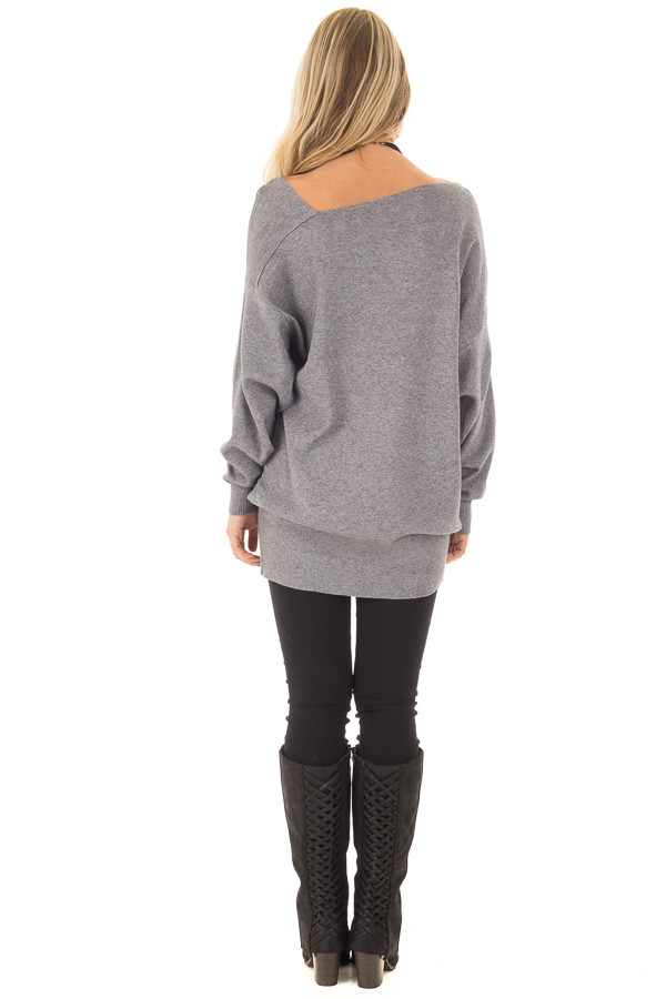Heather Grey Long Sleeve Cold Shoulder Top back full body