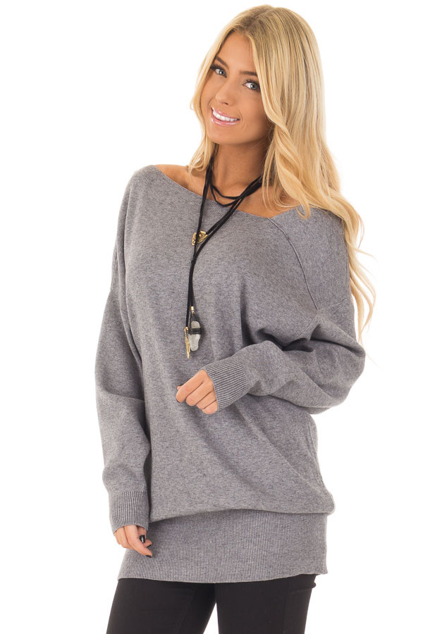 Heather Grey Long Sleeve Cold Shoulder Top front close up