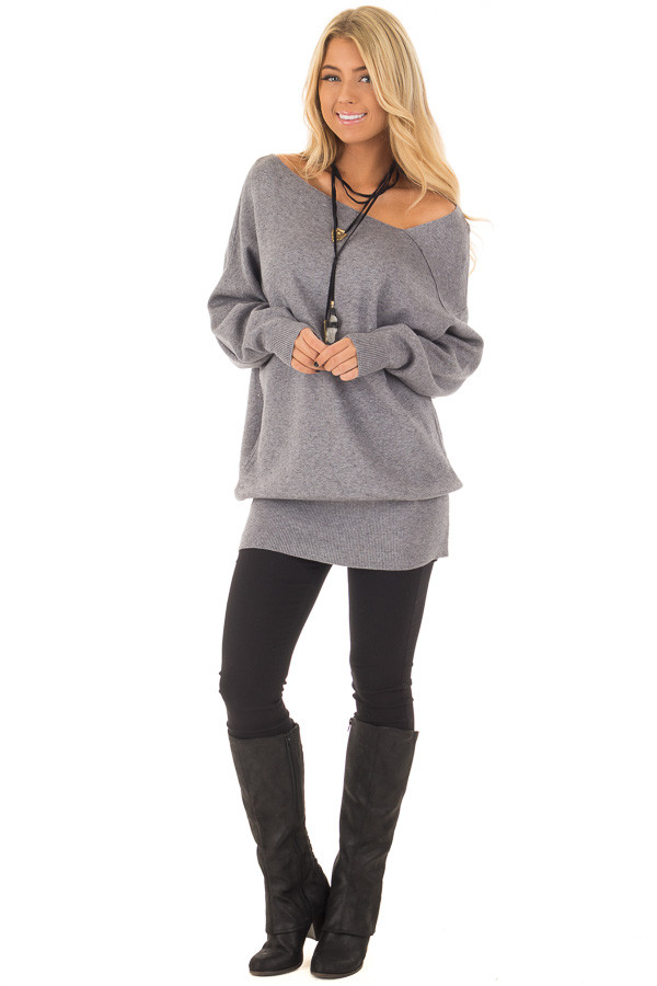 Heather Grey Long Sleeve Cold Shoulder Top front full body