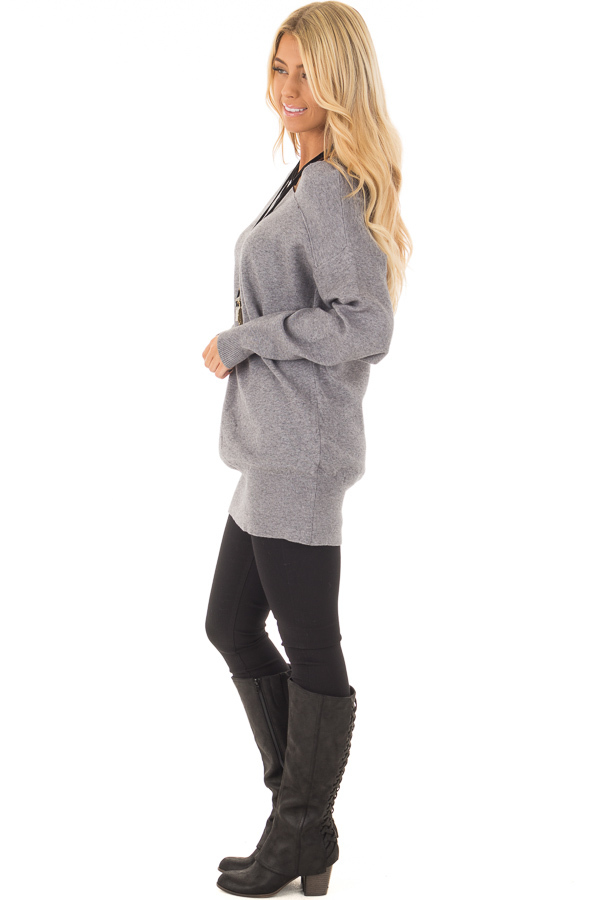 Heather Grey Long Sleeve Cold Shoulder Top side full body