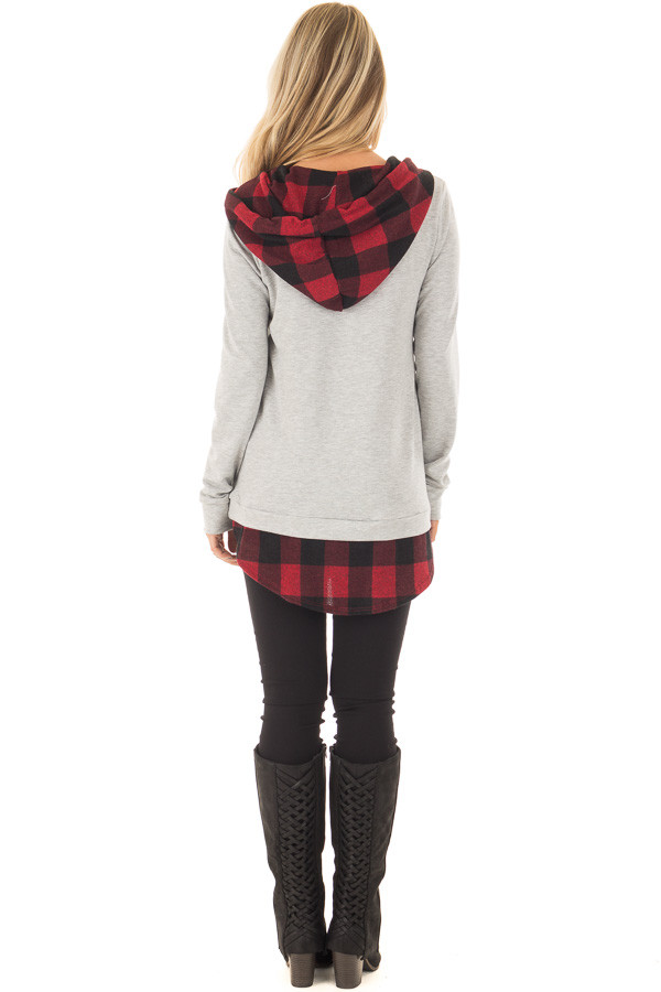 Heather Grey Hoodie with Red Plaid Contrast back full body