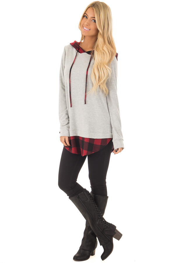 Heather Grey Hoodie with Red Plaid Contrast front full body