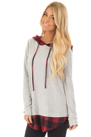 Heather Grey Hoodie with Red Plaid Contrast front close up