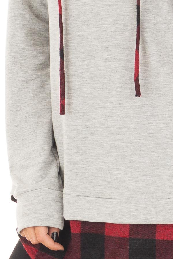 Heather Grey Hoodie with Red Plaid Contrast detail