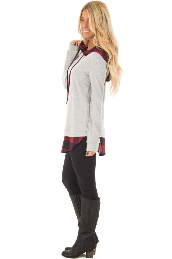 Heather Grey Hoodie with Red Plaid Contrast side full body