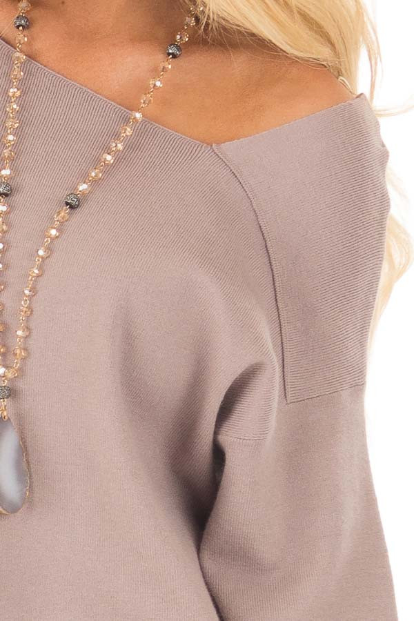 Cocoa Long Sleeve Cold Shoulder Top detail