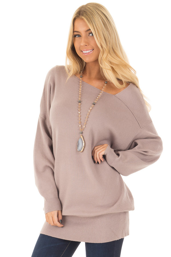Cocoa Long Sleeve Cold Shoulder Top front close up