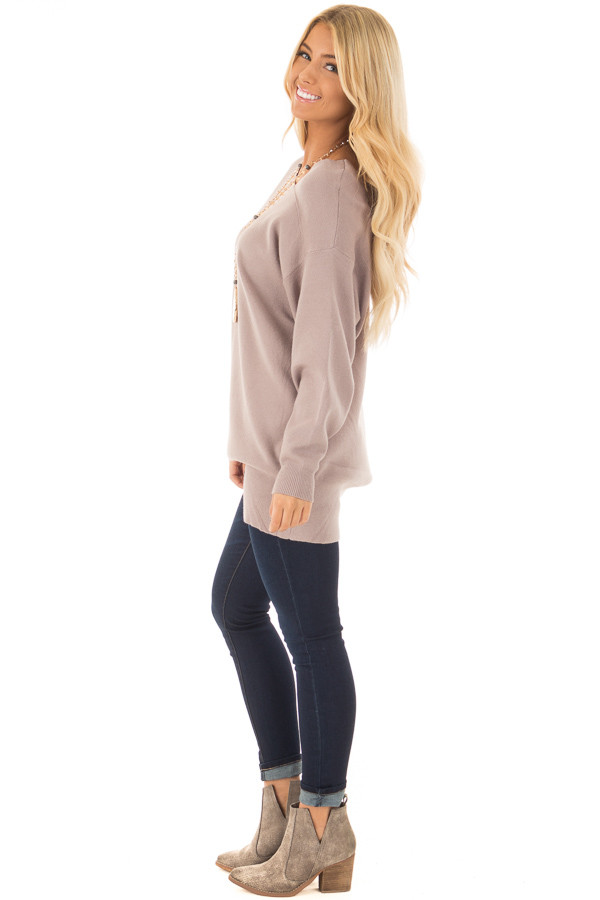 Cocoa Long Sleeve Cold Shoulder Top side full body