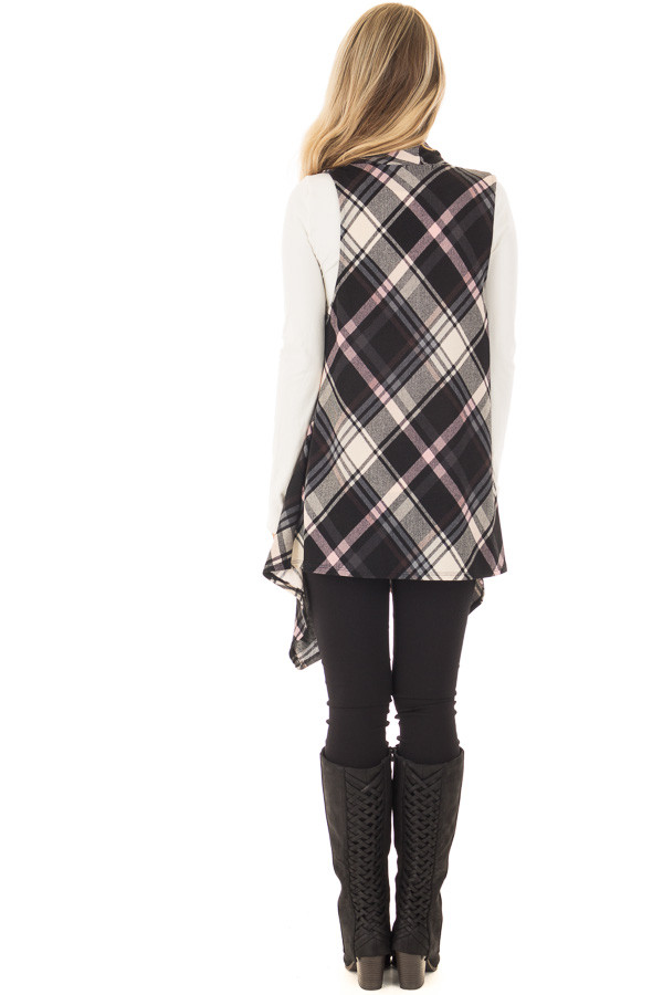Blush and Black Plaid Open Drape Soft Lightweight Knit Vest back full body