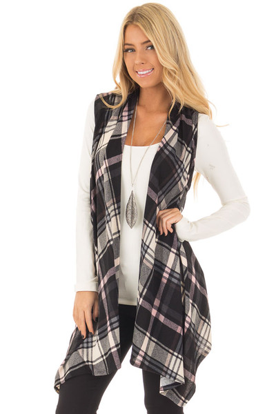 Blush and Black Plaid Open Drape Soft Lightweight Knit Vest front close up