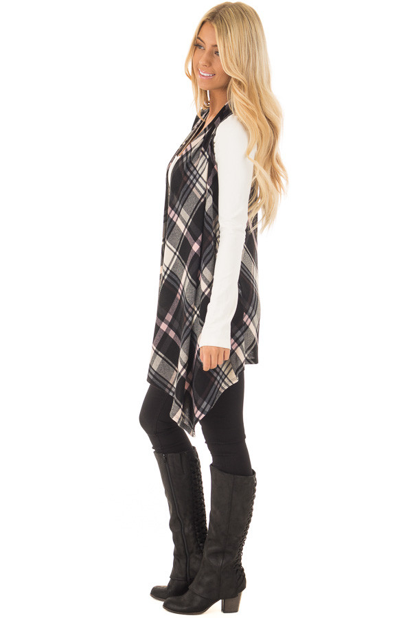 Blush and Black Plaid Open Drape Soft Lightweight Knit Vest side full body
