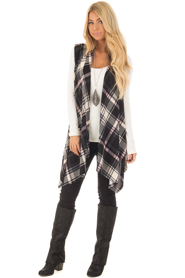 Blush and Black Plaid Open Drape Soft Lightweight Knit Vest front full body
