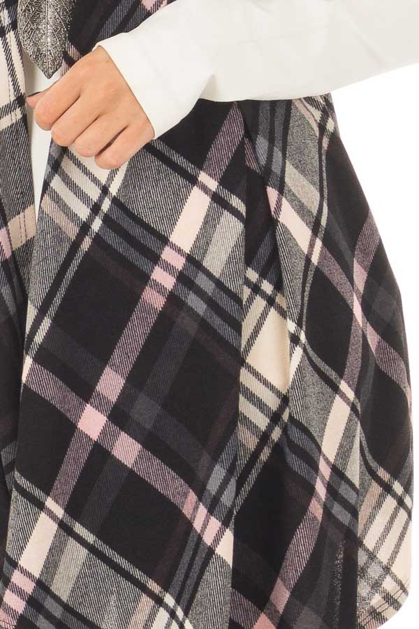 Blush and Black Plaid Open Drape Soft Lightweight Knit Vest detail