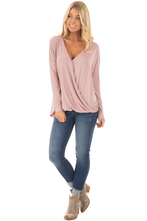 Dusty Pink Drop Shoulder Long Sleeve Surplice Top front full body