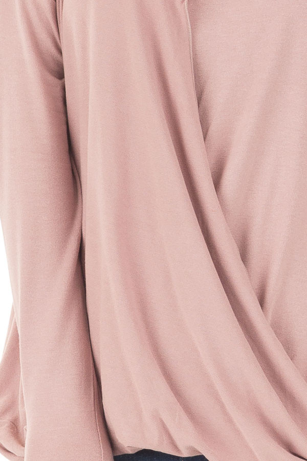 Dusty Pink Drop Shoulder Long Sleeve Surplice Top detail